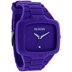 Nixon Men's A139-230 Rubber Player Rectangle Purple Strap Watch