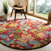 Safavieh Handmade Jardine Red/ Multi Wool Rug - 6' x 6' Round
