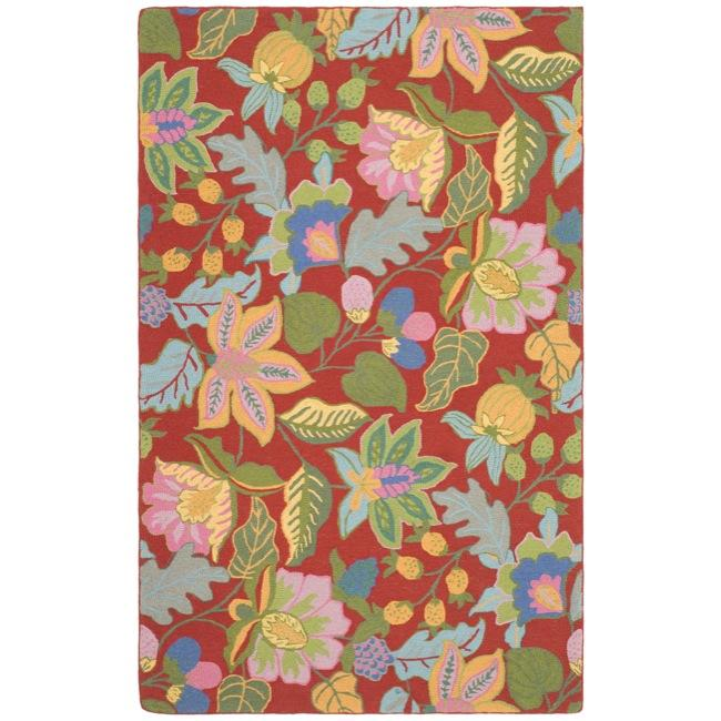 Safavieh Handmade Jardine Red/ Multi Wool Rug (4' x 6')