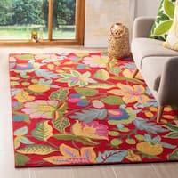 Safavieh Handmade Jardine Red/ Multi Wool Rug - 4' x 6'