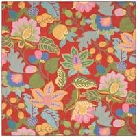Safavieh Handmade Jardine Red/ Multi Wool Rug - 6' x 6' Square