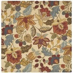 Safavieh Handmade Jardine Foliage Beige/ Multi Wool Rug (6' x 6')
