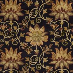 Safavieh Handmade Jardine Chocolate/ Beige Wool Rug (8' x 10') - Thumbnail 2