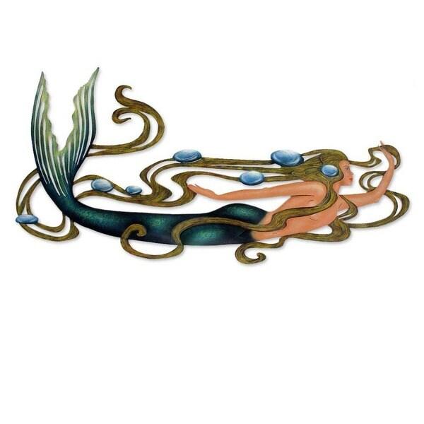Handmade Steel Mermaid Magic Multi Color Accent Unframed Wall Art (Mexico)