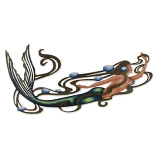 Handmade Steel Mermaid Magic Multi Color Accent Unframed Wall Art (Mexico)