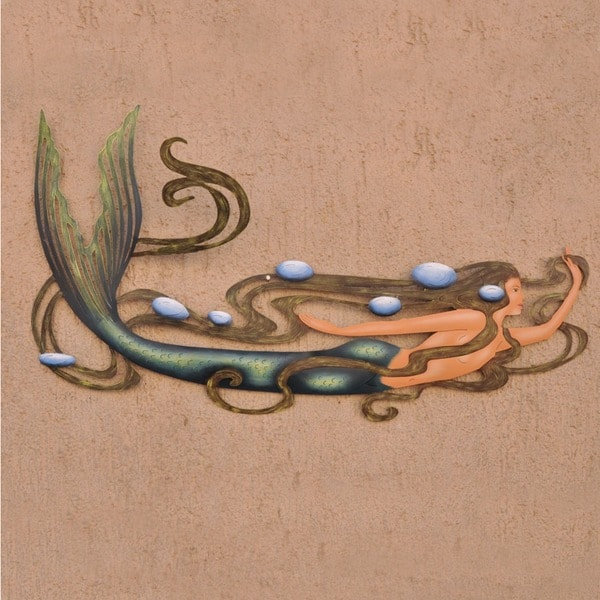 Hand Painted Steel Mermaid Magic Multi Color Accent Unframed Wall Art (Mexico)
