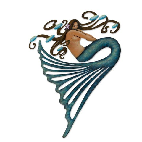 Handmade Steel Shy Mermaid Wall Art (Mexico)