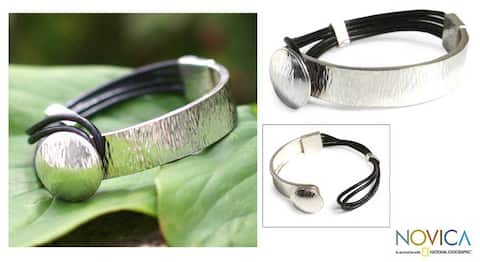 Sterling Silver 'Metropolitan' Leather Bracelet
