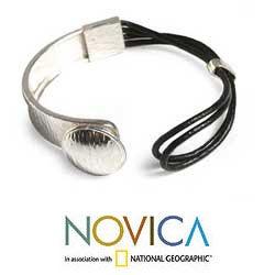 Sterling Silver 'Metropolitan' Leather Bracelet (Peru) - Thumbnail 2