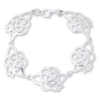 Handmade Sterling Silver 'Roses In Love' Flower Bracelet (Thailand)