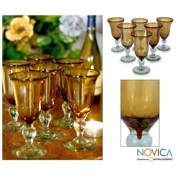 Hand Blown Set of 6 Medium Glass Golden Amber Goblets (Mexico)