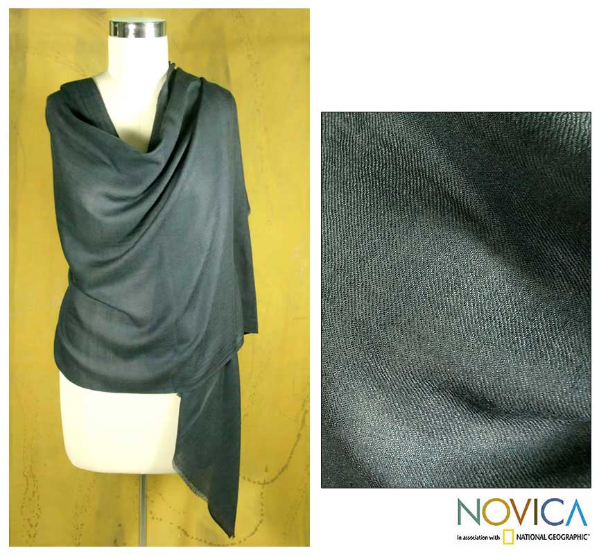 Silk and Cashmere Wool 'Storm' Shawl (India)