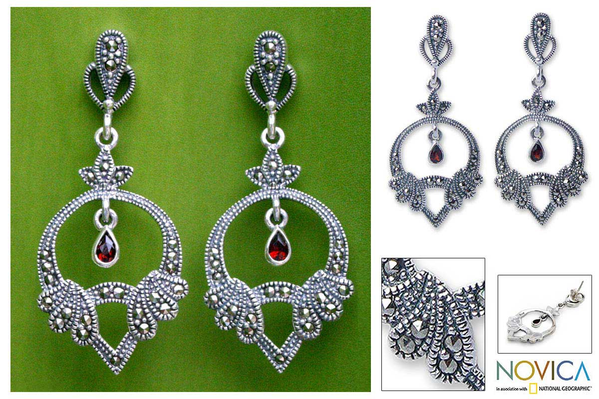 Silver 'Twinkling Charm' Marcasite and Garnet Earrings (Thailand)