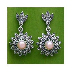 Handmade Sterling Silver Marcasite and Pearl 'Chiang Rai Rose' Flower Earrings (Thailand)