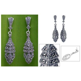 Handmade Sterling Silver Marcasite 'Thai Glamour' Drop Earrings (Thailand)