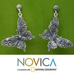 Handmade Sterling Silver Marcasite 'Butterfly Realm' Dangle Earrings (Thailand)