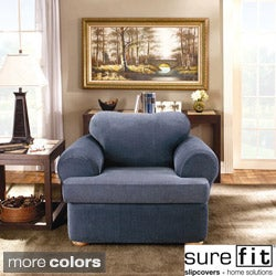 Sure Fit Stretch Stripe 2-piece T-cushion Chair Slipcover (As Is Item)