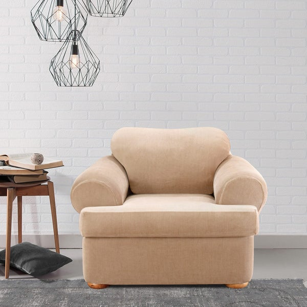 Sure Fit Stretch Stripe 2 Piece T Cushion Chair Slipcover   Free Shipping  Today   Overstock.com   12994206