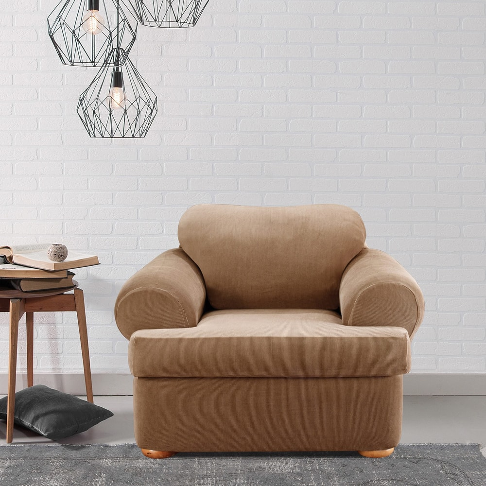 Awe Inspiring Shop Sure Fit Stretch Stripe 2 Piece T Cushion Chair Alphanode Cool Chair Designs And Ideas Alphanodeonline