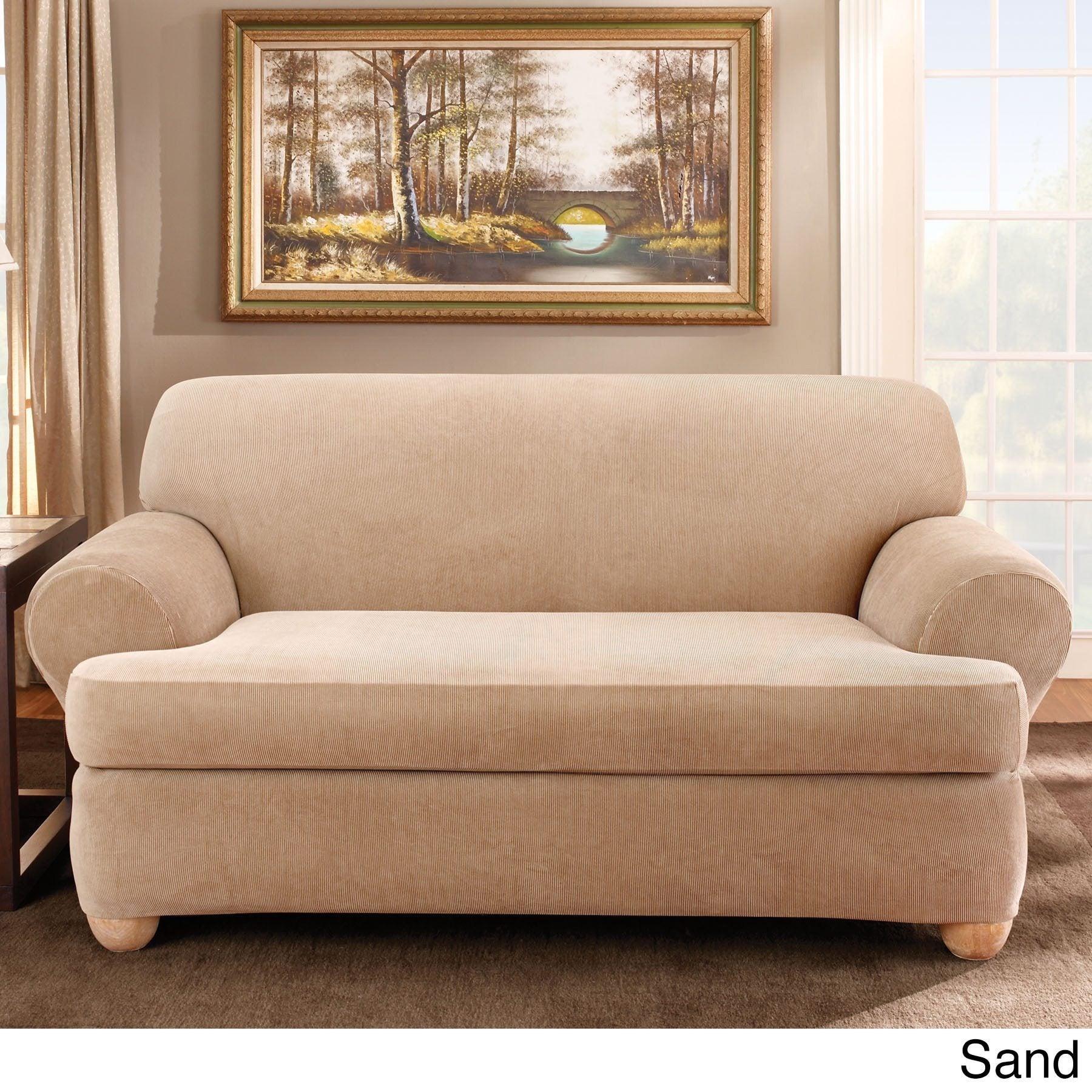 2 Piece T Cushion Sofa Slipcover Home