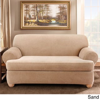 Sure Fit Stretch Stripe 2-piece T-cushion Sofa Slipcover (2 options available)