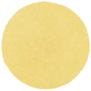 Hand-woven Yellow Chenille Rug (3' x 3')