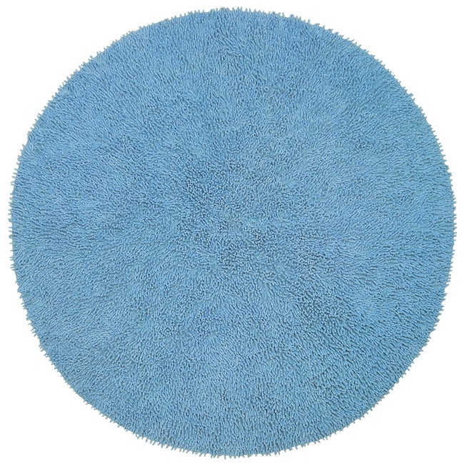 hand woven light blue chenille shag rug 3 39 round free shipping on orders over 45. Black Bedroom Furniture Sets. Home Design Ideas
