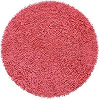 Hand-woven Pink Chenille Rug (3' x 3') - 3' x 3'