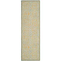 Safavieh Handmade Moroccan Cambridge Blue Wool Rug - 2'6 x 10' - Thumbnail 0