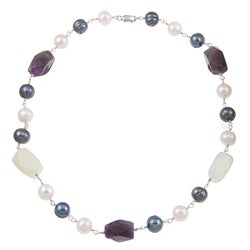 Kabella Pearl, Amethyst and Aventurine Bead Necklace (9-10 mm)