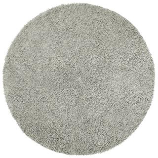 Hand-woven Grey Chenille Shag Rug (3' Round)