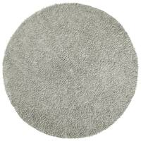 Hand-woven Grey Chenille Shag Rug (3' Round) - 3' x 3'