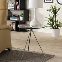 Triplet Round Glass Top with Tripod Base End Table