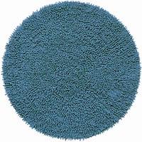 Hand-woven Blue Chenille Shag Rug (3' Round)