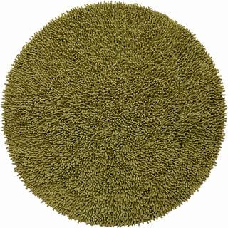 Hand-woven Moss Green Chenille Shag Rug (3' Round)