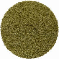Hand-woven Moss Green Chenille Shag Rug (3' Round)