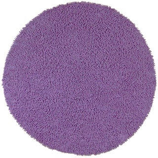 Hand-woven Purple Chenille Shag Rug (3' Round)