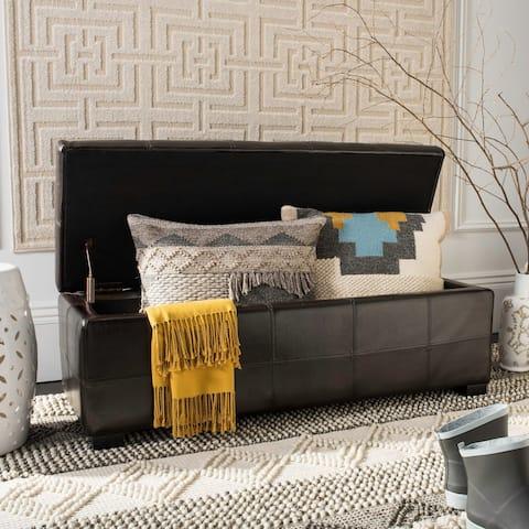 "Safavieh Madison Brown Bicast Leather/Wood Storage Bench - 46.9"" x 18.3"" x 16.7"""