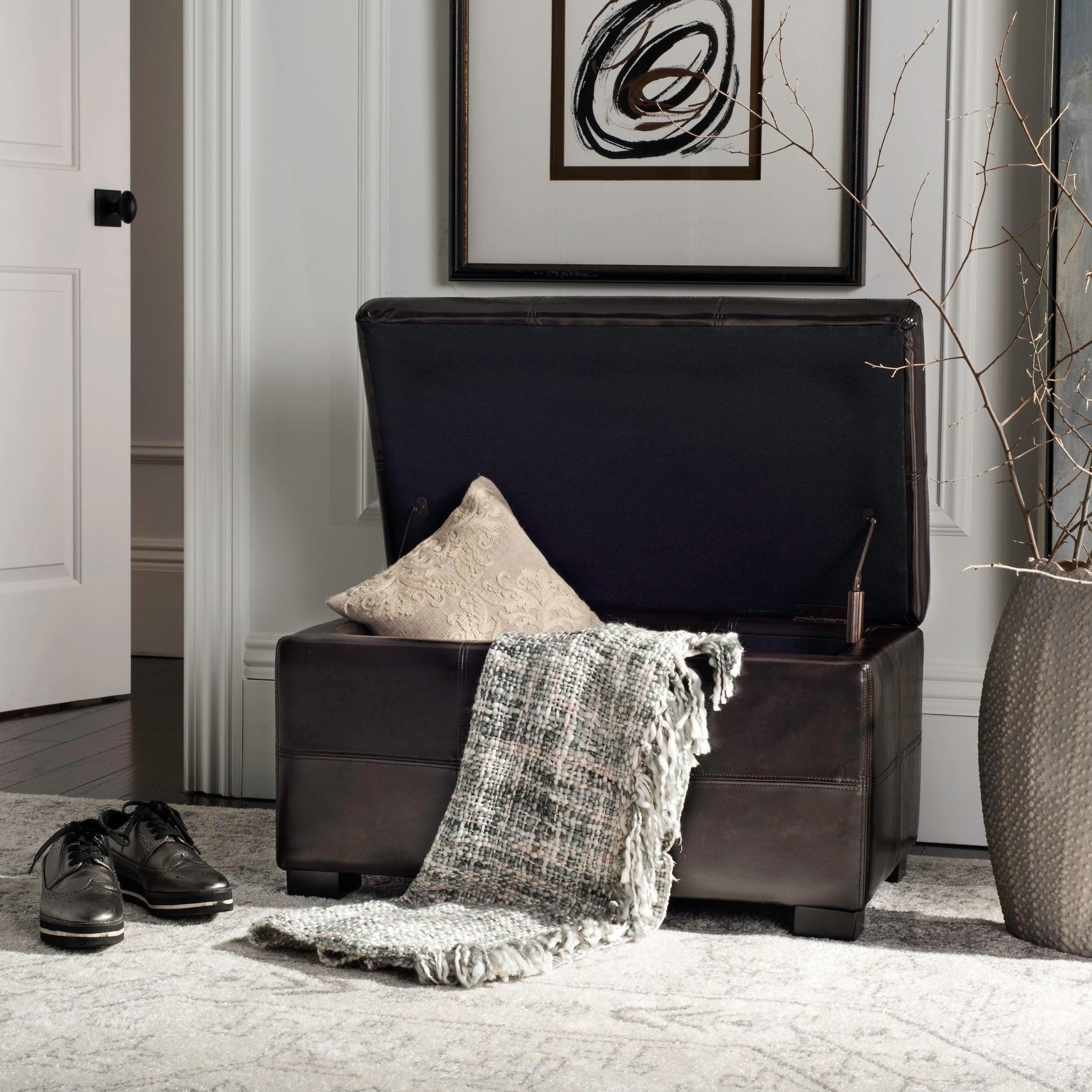 Safavieh Madison Brown Bicast Leather Storage Bench 30 1 X 18 1 X 17 7 Overstock 5151884