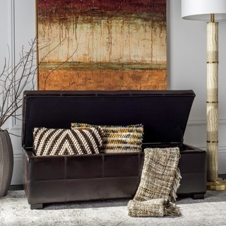 Large Safavieh Maiden Tufted Brown Bicast-Leather Storage Bench