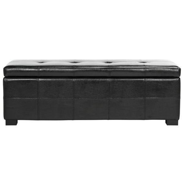 Safavieh Maiden Tufted Black Bicast Leather Storage Bench Free Shipping Today