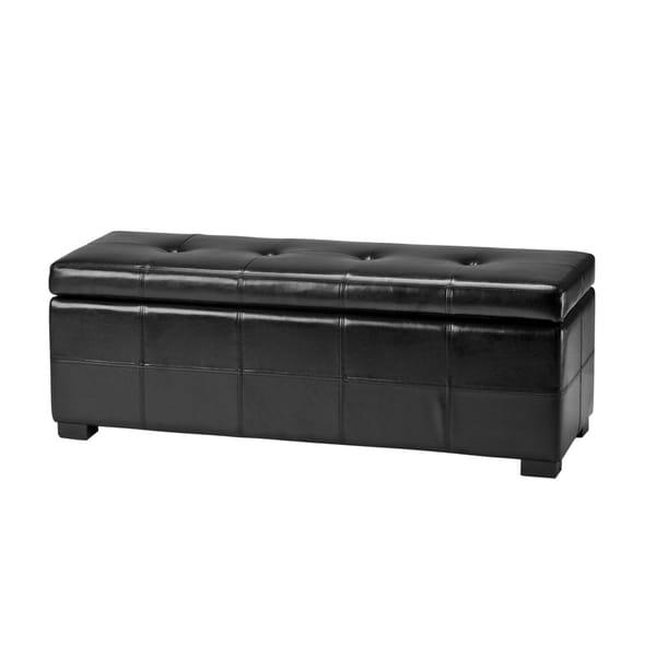 Safavieh Maiden Tufted Black Bicast Leather Storage Bench