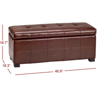 Safavieh Maiden Tuftedecordovan Bicast Leather Storage Bench