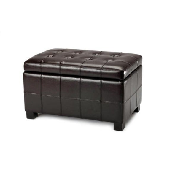 Safavieh Maiden Tufted Brown Bicast Leather Storage Bench