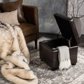 Safavieh Maiden Square Storage Tufted Brown Leather Ottoman