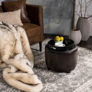 Safavieh Chelsea Brown Storage Bicast Leather Round Tray Ottoman