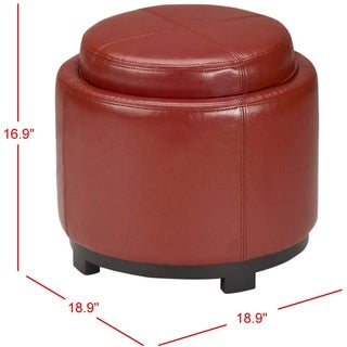 Safavieh Chelsea Storage Red Leather Round Tray Ottoman