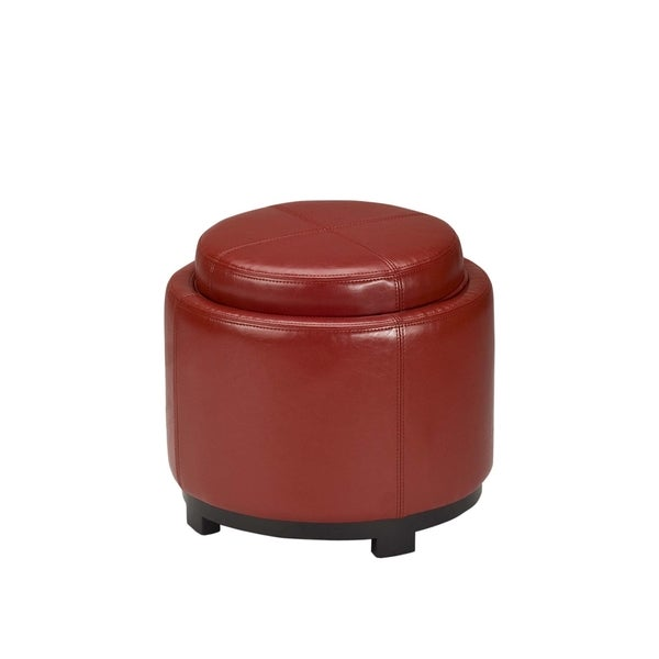 Safavieh Chelsea Storage Red Leather Round Tray Ottoman - Modern Leather Ottomans: Contemporary Leather Ottoman Styles