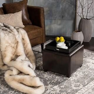 Safavieh Harrison Storage Brown Leather Tray Ottoman