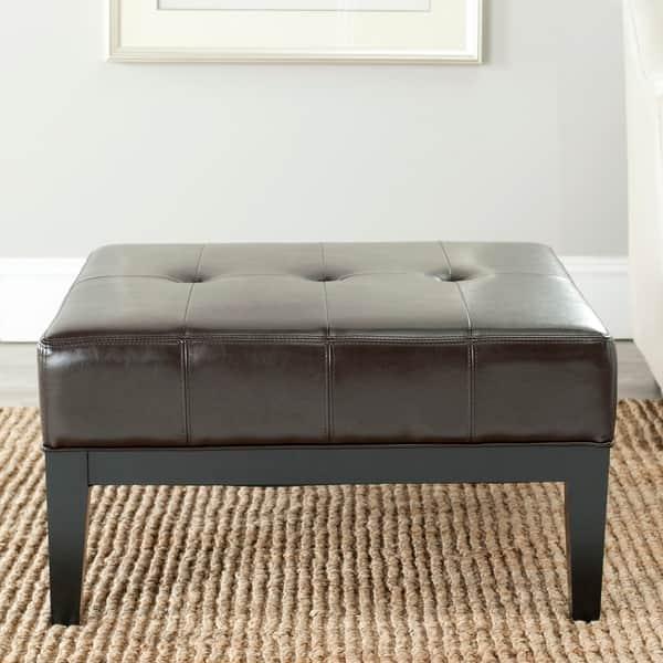 Admirable Shop Safavieh Fulton Storage Brown Bi Cast Leather Square Inzonedesignstudio Interior Chair Design Inzonedesignstudiocom